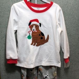 Carter's boys Dog Christmas Fleece PJ Set
